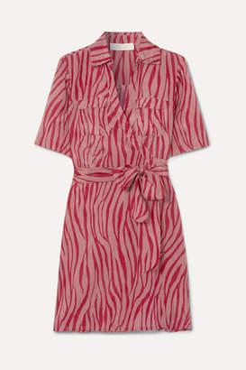Diane von Furstenberg Alexa Tiger-print Cotton And Silk-blend Voile Wrap Mini Dress - Claret
