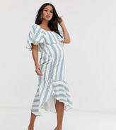 Asos DESIGN maternity square neck striped midi dress with ruched skirt and pep hem