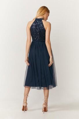 Coast Sequin Bodice Halter Midi Dress