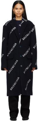 Balenciaga Navy Logo Boxy Coat