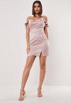 Missguided Petite Blush Cold Shoulder Satin Cowl Mini Dress