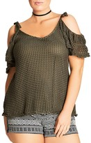 City Chic Cold Shoulder Crochet Top