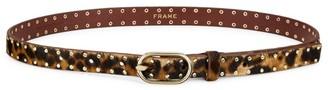 Frame Petite Studded Leopard Print Suede Belt