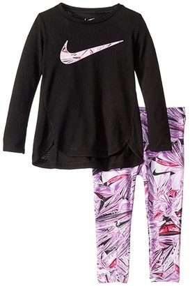 Nike Kids Dri-FITtm Sport Essentials Long Sleeve Tunic and Leggings Two-Piece Set (Toddler) (Teal Nebula) Girl's Active Sets