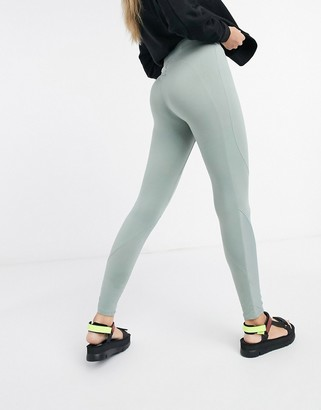 Weekday Sidra contrast stitch leggings in khaki