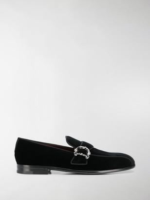 Dolce & Gabbana Buckled Velvet Loafers