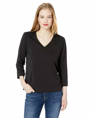 Karl Lagerfeld Paris Women's V-Neck Top with Lace Detailing