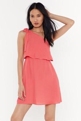 Nasty Gal Womens I Wanna Bow One Shoulder Mini Dress - Coral