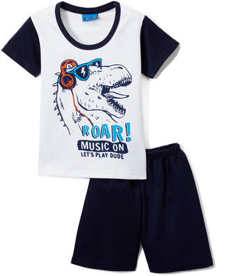 Sweet & Soft Boys' Casual Shorts White - White & Navy 'Roar!' T-Rex Tee & Shorts - Infant