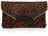 Sondra Roberts Chain Edge Leopard Calf Hair Clutch