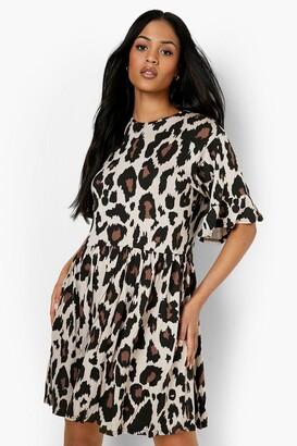 boohoo Tall Leopard Print Smock Dress
