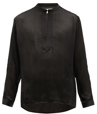 Saint Laurent Quilted Deep Slit Crinkle-silk Georgette Shirt - Black