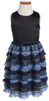 Milly Minis Girl's Sequin Fringe Pleated Dress