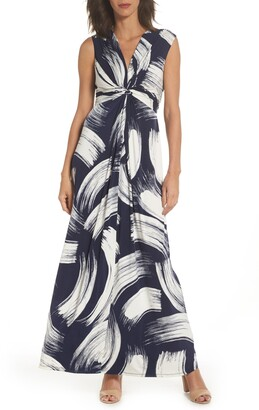 Eliza J Front Knot Jersey Maxi Dress