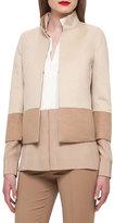 Akris Reversible Colorblock Jacket, Camel/Ivory