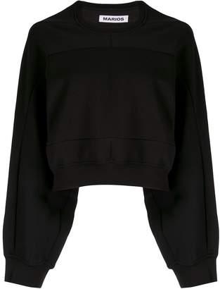 Marios geometric seam cropped sweatshirt