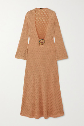 Dodo Bar Or Gigi Embellished Cutout Crocheted Cotton Maxi Dress - Camel