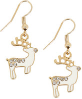 Yours Clothing Gold & Cream Christmas Reindeer Dangle Earrings