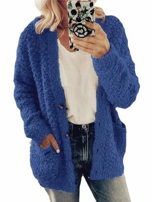 AAP Women Warm Cardigan Open Front Faux Fur Teddy Bear Fluffy Jacket Coat Winter Outwear with Pockets Plus Size L Pink