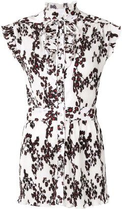 Paco Rabanne Micro-Pleated Floral Blouse