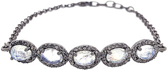 Bavna Silver 4.13 Ct. Tw. Diamond & Rainbow Moonstone Bracelet