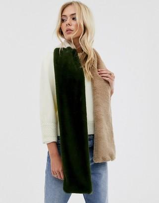 Pieces faux fur color block scarf