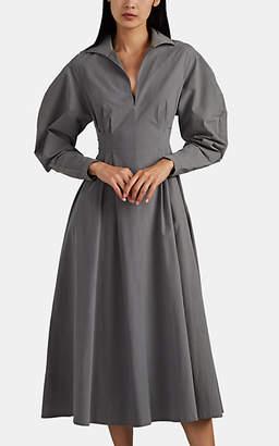 Co Women's Gathered Poplin Dress - Gray