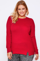Yours Clothing Red Jumper With Zip & Hem Details