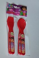 Dora the Explorer 4pc Fork & Spoon Set in Bag - Red by
