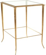 The Well Appointed House Gold Leaf Accent Table with Glass Top & Bottom Shelf