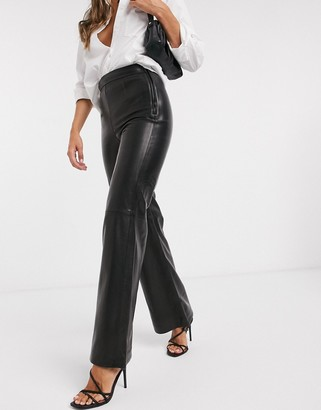 And other stories & leather flared pants in black