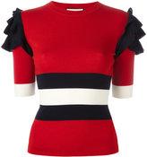 Gucci Web ruffled sleeve top - women - Wool - XS
