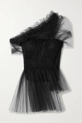 Jason Wu Collection One-shoulder Ruffled Gathered Tulle Peplum Top - Black