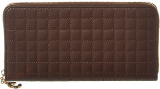 Celine Large C Charm Quilted Leather Zip Around Wallet