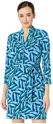 Donna Morgan Stretch Knit Jersey Printed Shirt Front Dress (Cobalt Blue) Women's Clothing