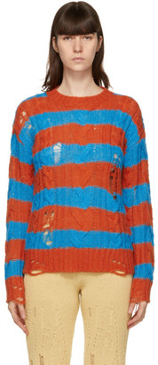 ANDERSSON BELL Orange and Blue Destroyed Stripe Cable Sweater
