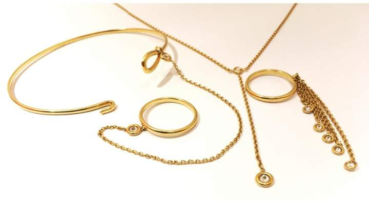 Christian Dior Soumission 18K Yellow Gold With Diamonds Necklace, Bracelet & Ring Set