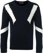 Neil Barrett geometric instarsia knit jumper