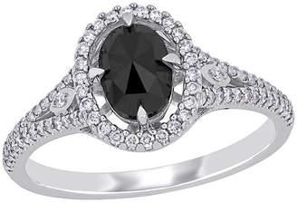 Black Diamond FINE JEWELRY Womens 1 1/4 CT. T.W. Genuine 14K White Gold Halo Engagement Ring