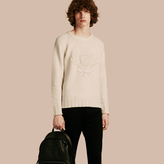 Burberry Embroidered Crest Wool Sweater, White