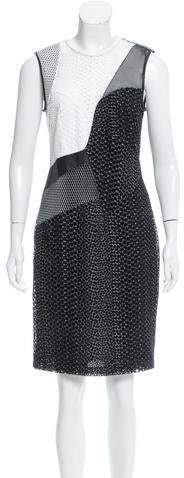 Yigal Azrouel Leather-Accented Eyelet Skirt w/ Tags