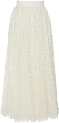 Zimmermann Embroidered Linen-Lace Maxi Skirt