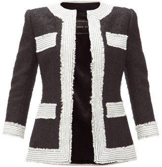 Andrew Gn Collarless Embroidered-trim Boucle Blazer - Womens - Black White