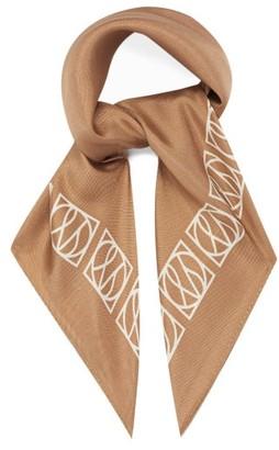 LESCARF No.21 Monogram Silk Scarf - Camel