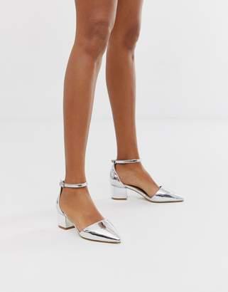 Raid RAID Julia silver ankle cross strap mid heeled shoes
