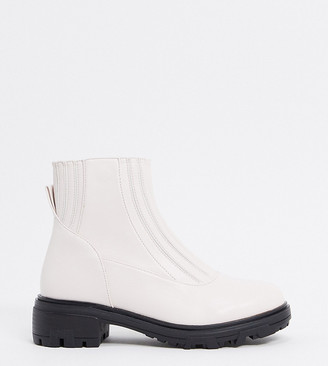 Raid Wide Fit Exclusive Prisla chunky flat boots in off white