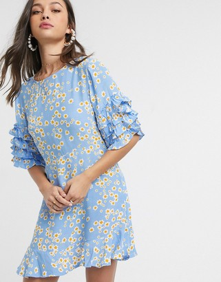 Faithfull The Brand Faithfull serafina floral short sleeve mini dress with ruffle sleeve in blue