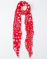 Le Château Heart Print Voile Lightweight Scarf