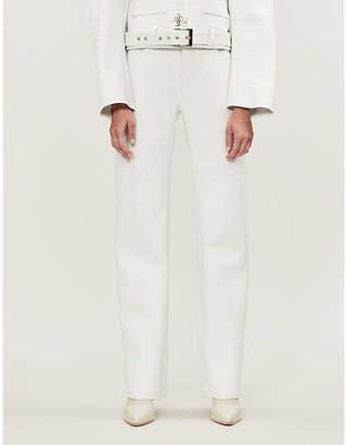 Leo Apollo boyfriend-fit faux-crocodile leather trousers