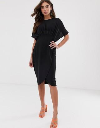 Asos Design DESIGN woven mix midi pencil dress
